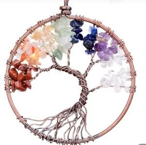 7 Chakra wire wrapped circle Tree Necklace